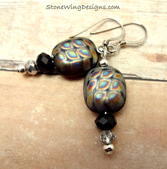 Peacock Glass Earrings
