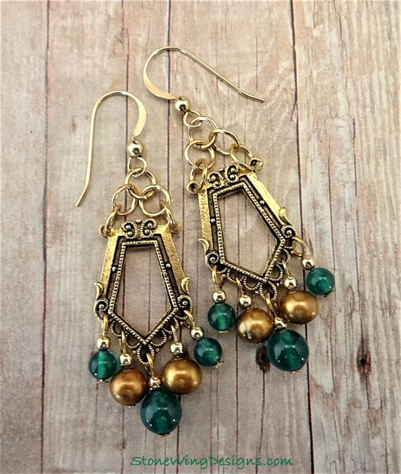 Art Deco Style Gold Pearl and Green Onyx Chandelier Earrings