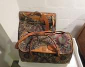 Vintage Hartmann 2 Piece Luggage Tapestry Flame Belting Leather