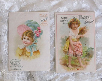 Prettiest Antique SOAP ADVERTISING CARDS, Girls, Bonnet, Shabby Chic, Cosmo Buttermilk Soap, Masters Soap Ad