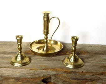 3 Brass Candle Holders Solid Brass Candle Stands 1970s Home Decor Farmhouse Chic Tapered Candle Holders