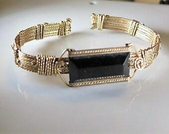 Art Deco Gold Fill Bangle Cuff Onyx Glass Stone 1930s Bracelet Very Fab