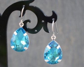 Aquamarine Crystal Earrings with Hypoallergenic Titanium Ear Wires