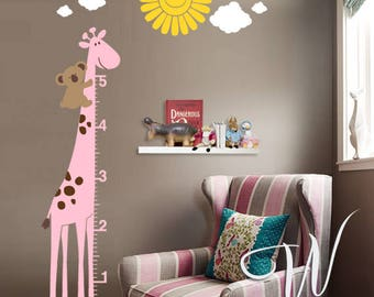 Koala with Giraffe Growth Chart  - Wall Decal