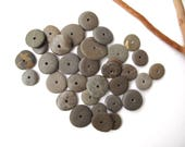 Rock Donut Beads Drilled Stone Spacers Beach Stone Beads Mediterranean Natural Stone Beads Diy Jewelry Pairs SMALL KHAKI WHEELS 11-20 mm