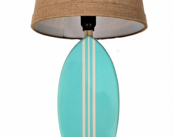 Surfboard Lamp with Burlap Shade Accent Lamp