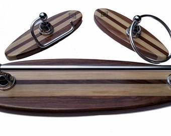 Surfboard Bathroom Accessory 3 Piece Set Optional Hardware Finish