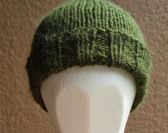 Stocking cap, watchcap, longshoremans hat, beanie, skull cap moss green loden. Hand knit stocking cap, beanie or skull cap