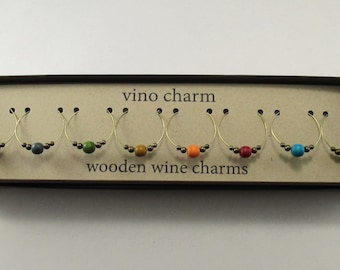 8 - Wine Charms | Wood Wine Glass Charms | Gift Box | Wine Hostess Gift - Wine Glass Markers - Wine Tasting Gift - Housewarming Gift | AW8-1