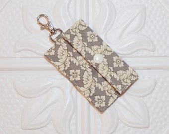 Gray And Cream Lip Balm Holder - Chapstick Cozy - Lip Balm Cozy - Chapstick Keychain Holder - USB Holder