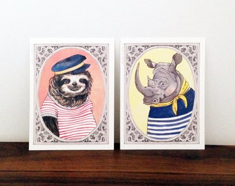 Sailor Sloth and Rhino - Set of 6 Illustrated Postcards