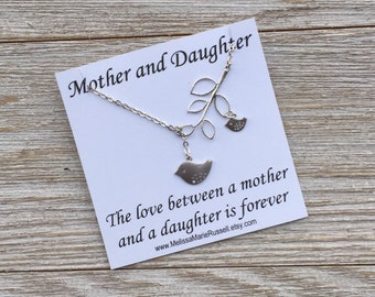 Matte Silver Mom and Baby Bird With Branch  Lariat Necklace, handmade jewelry, mother's day, birthday, baby shower gift, Christmas gift, mom