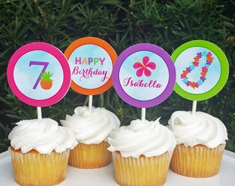 Peronalized Luau Cupcake Toppers  Printable - Luau Palms Collection