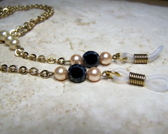 Chain For Glasses, Cream Pearls with Black Stone, 26 or 28 inches, Gift Idea