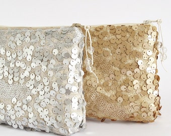 Silver Gold Sequin Clutch Bag Glam Bridal Accessory Glitter Festive Purse Christmas Gift for Her