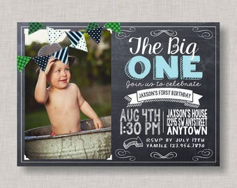 Boy First Birthday Invitation, First Birthday Invitation, Chalkboard Invitation, The Big One, First Birthday, 1st Birthday, BBQ, Bunting