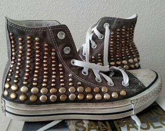 Studded Converse Shoes - Distressed Vintage Antique Dome Studded High Tops