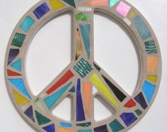 Peace Sign Wall Art blue mosaic peace sign wall art hippie wall decor 60's era