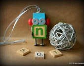 Robot Ornament - n Bot - Upcycled Ornament - Hanging Decor by Jen Hardwick
