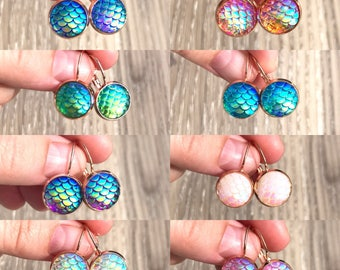 Iridescent resin mermaid / dragon scale drops - rose gold