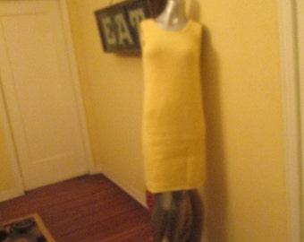 1960s Handknit Mod Dress Yellow  / Vintage Sleeveless Dress Small