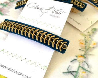 Brass Chain Blues and Greens French Barrette