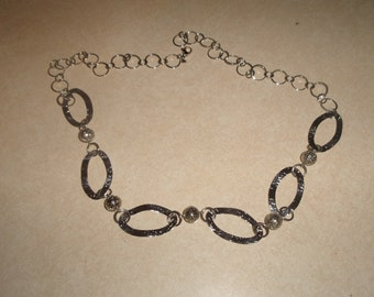 vintage necklace silvertone open link chain stainless steel