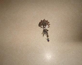 vintage pin brooch goldtone silvertone flower charm dangles
