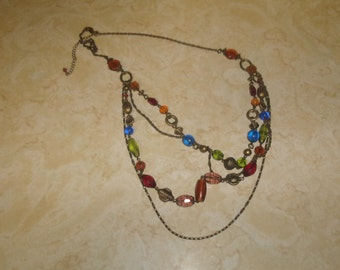 vintage necklace multi strand goldtone glass lucite colorful beads