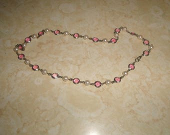 vintage necklace pink lucite faux pearls silvertone