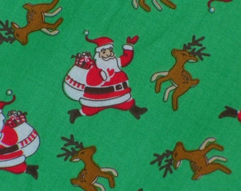 Christmas Fabric, Retro Santa, Santa Fabric, 1930's Storybook, Windham fabrics, Santa on Green, By the Yard, Cotton Fabric