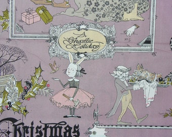 A Ghastlie Christmas,  A Ghastlie Holiday, Alexander Henry, Ghastlie Fabric,  Mauve Background, By the Yard, Cotton Fabric