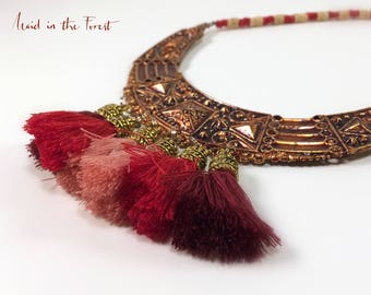 Romantic gift for her: Handcrafted bohemian brass and heishi necklace with small tassels and agate beads.