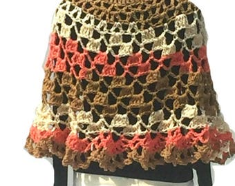 Cheesecake Crochet Poncho Round Shawl Handmade Crochet Pullover Poncho Capelet Coverup