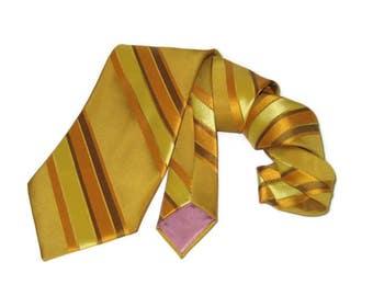 60s Wide Tie Wide Gold Tie Wide Gold Stripes Gold Striped Tie 1960s Playboy Tie Playboy Neckwear Vintage 60s Necktie Vintage Wide Neck Tie