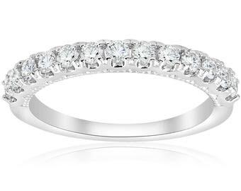 Diamond Wedding Ring U Prong Diamond Ring 1/2ct 14k White Gold Diamond Stackable Art Deco Band Womens Wedding Ring Milgrain Vintage Accent