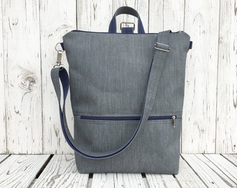 Minimalist Vegan City backpack, Solid Gray Rucksack, Functional Laptop carrier, unique gift for college student, birthday present