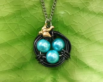 Handmade in USA Bird's Nest Necklace Robin's Egg Blue Aqua Color with Brass Bird Charm, Faux Pearls, Wire Wrapped, on 18inch Stainless Steel