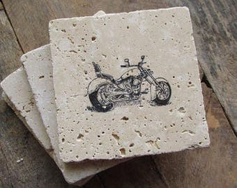 Natural stone coaster. Motorcycle Coasters.  Set of Four Coasters. Gift. Father's Day Gift.