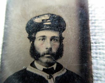 antique miniature gem tintype photo - 1800s, man with uniform, rosy cheeks