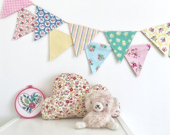 Petite Shabby Chic Fabric Bunting, Banner, Garlands (set of 2)