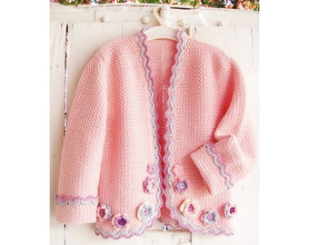 Pink Jacket with flowers for little Girls - Crochet Pattern - Instant Download