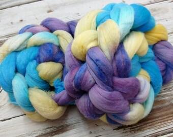 Blue Bonnet Silver Sparkle 4oz Superfine Merino Wool Silver Stellina Glitter Glisten Purple Blue Cream Spinning Felting Fiber Combed Top
