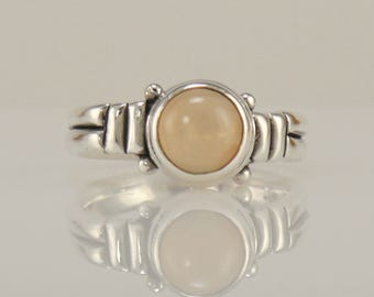 R1088- Sterling Silver Peach Moonstone Ring- One of a Kind