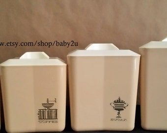 Set of Four Retro Plastic Nesting Canisters with lids