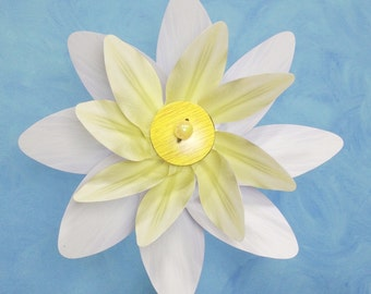 Yellow & White Flower Double Spin Pinwheel Whirligig Spinner Windmill Fan