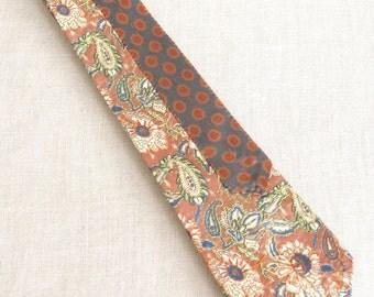 Mens Neck Ties, Hand Embroidered, Silk Tie, Floral, Mans Tie, Flowers, Pink, Neckties, Handmade, Wil Shepherd, Vintage, Up Cycled, Preppy