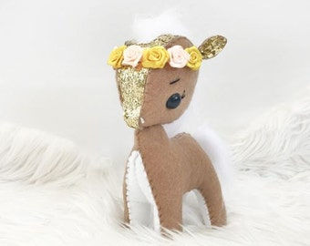 Gold Peach and Brown Glitter Felt Pony Plush Doll with Flower Crown