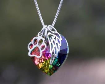 Rainbow bridge pet loss necklace - Pet Loss- Pet Loss Gift -  pet memorial - pet loss jewelry - memorial gift - Loss of Pet - Fur baby