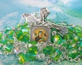 Handmade Catholic Rosary, 6mm Preciosa Czech Glass Spring Green and Yellow Beads, Our Lady of Perpetual Help Center, Matching Lined Crucifix